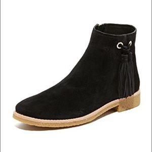 Kate Spade black suede Bellamy tassel flat booties